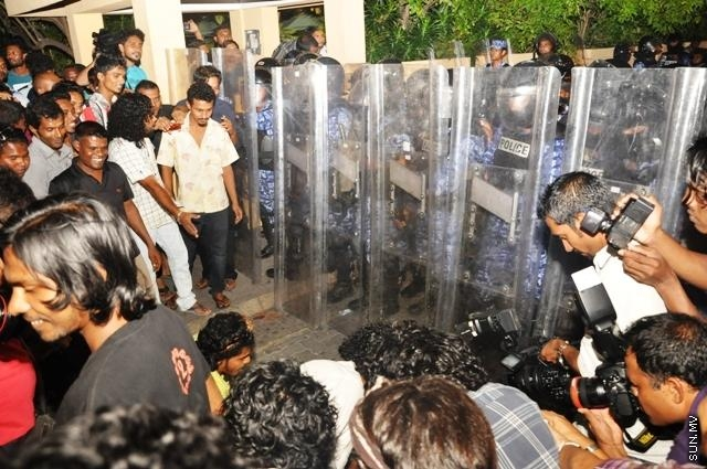 MDP stages protest in front of People