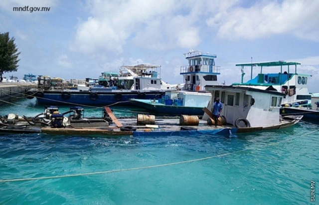 Boat sunk in VIlimalé lagoon reclaimed after two days