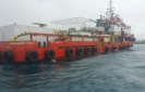 Dominican Republic tugboat caught in bad weather docks at Uligam
