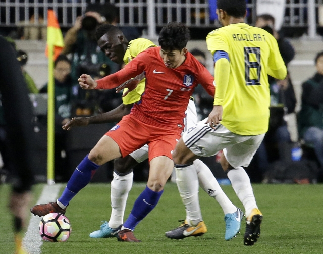Son scores 2 to give South Korea 2-1 win over Colombia